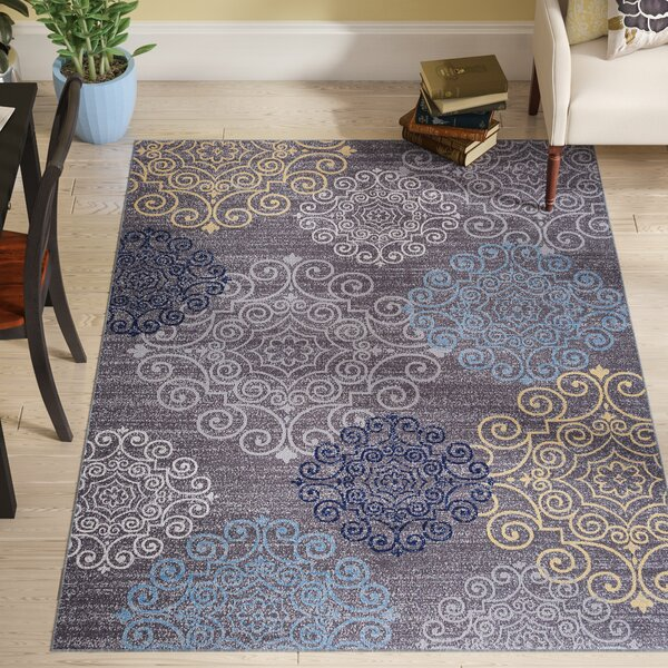 Raynor Gray Floral Swirl Area Rug by Andover Mills