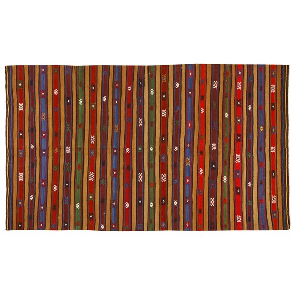 Kilim Hand-Woven Red/Blue Area Rug by La Viola Décor