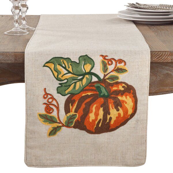 Morton Embroidered Pumpkin Fall Thanksgiving Table Runner by August Grove