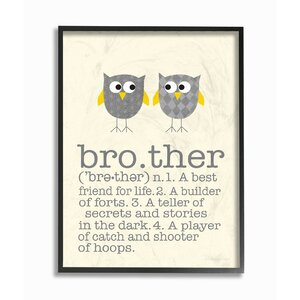 Brother Definition Two Owls Giclee Texturized Framed Art by Stupell Industries