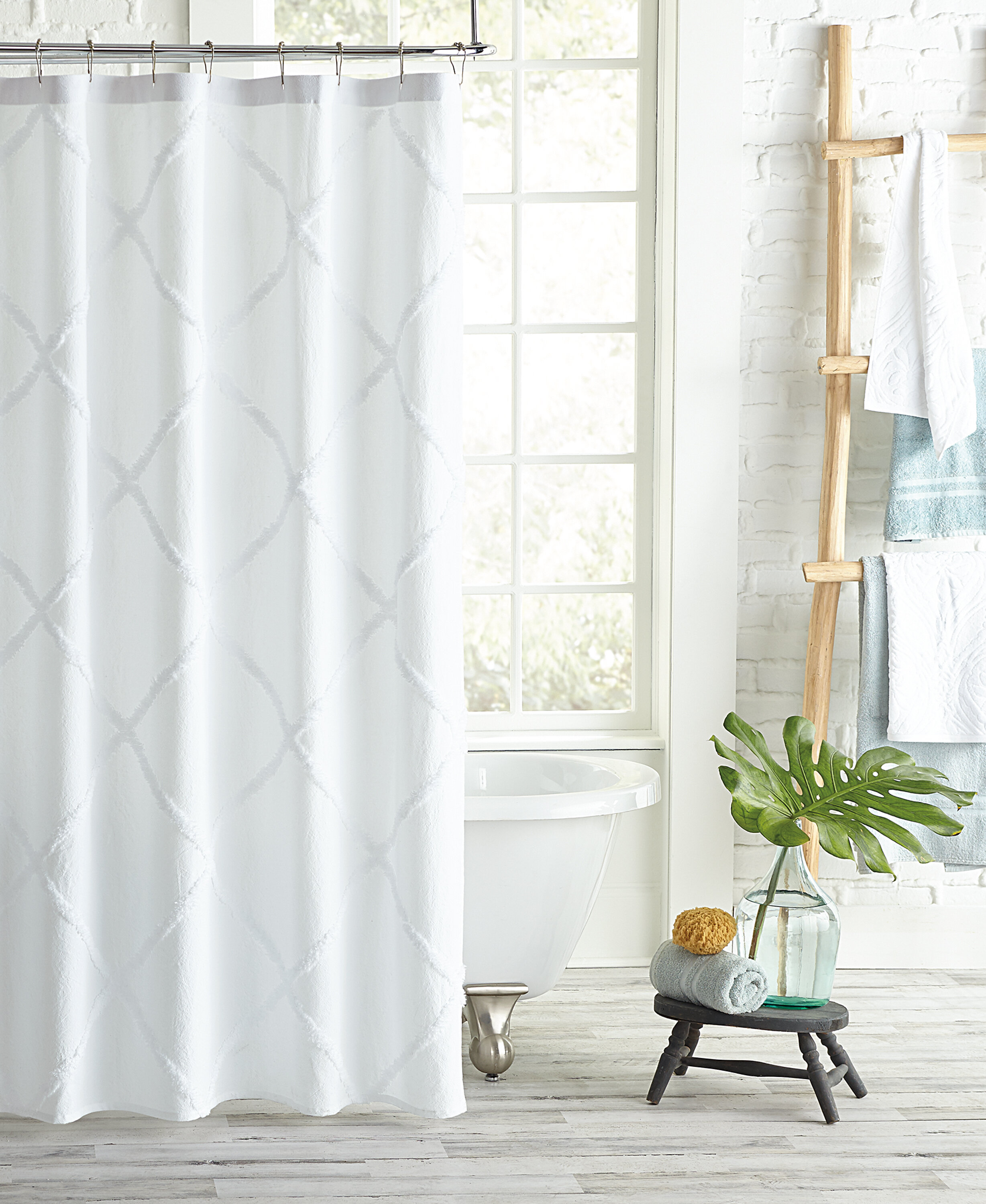 Agustin Lattice Cotton Geometric Single Shower Curtain