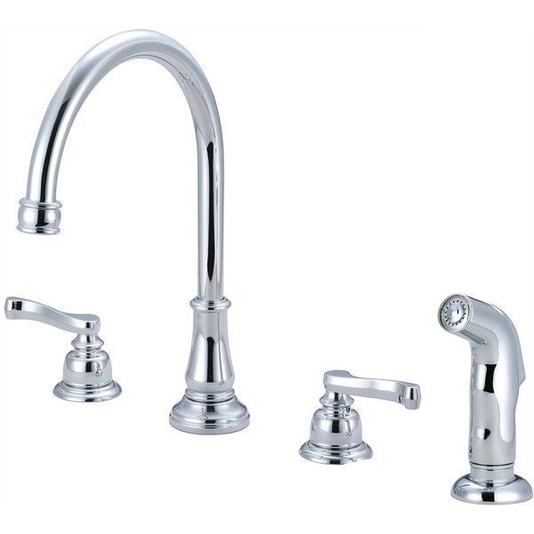 Brentwood Widespread Double Handle Kitchen Faucet with Side Spray by Pioneer