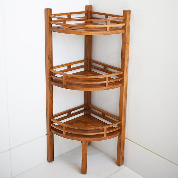 Knudsen 20.75'' W x 42.5'' H x 14.75 D Solid Wood Free-Standing Bathroom Shelves