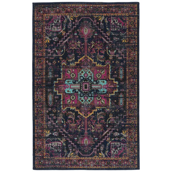 Atherton Navy/Pink Indoor/Outdoor Area Rug by Bungalow Rose