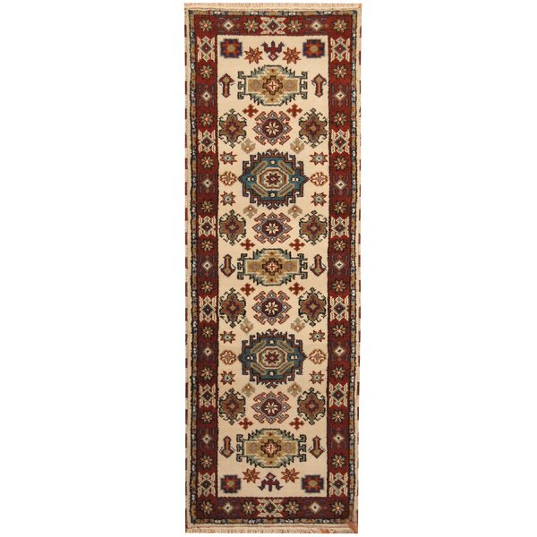 Kazak Hand-Knotted Ivory/Rust Area Rug by Herat Oriental
