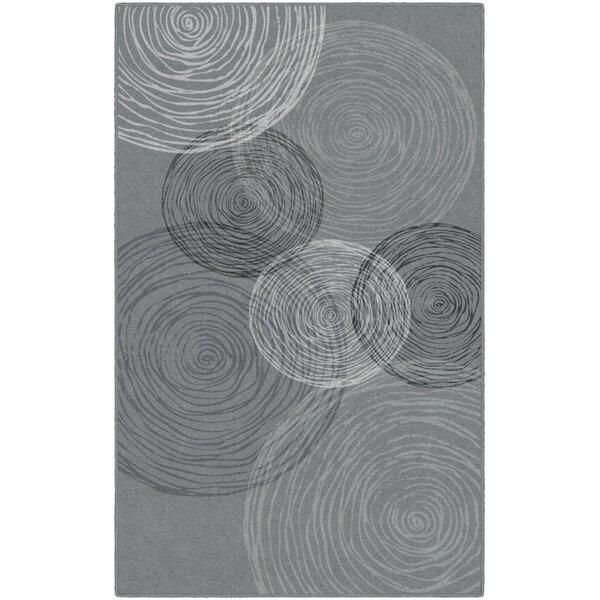 Clary Pinwheels Gray Area Rug by Ebern Designs