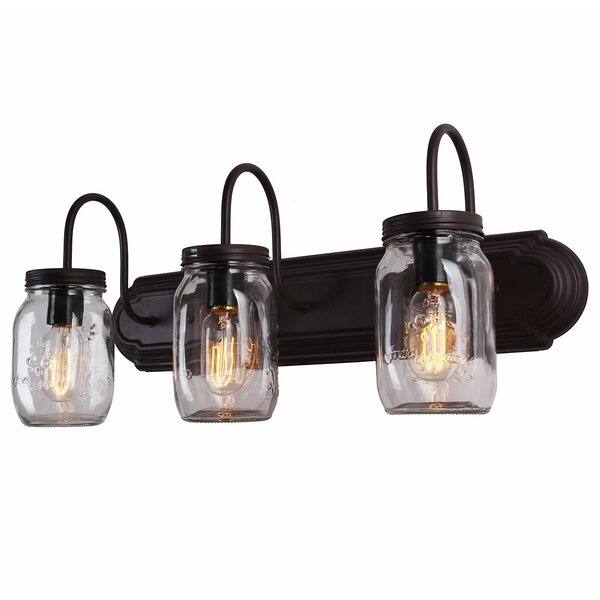 Bendel Mason Jar 3-Light Vanity Light by Williston Forge