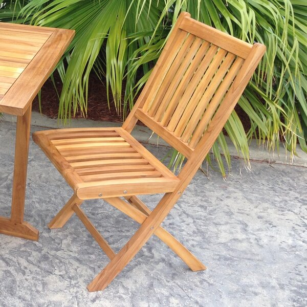 Everleigh Folding Teak Patio Dining Chair (Set Of 2) By Bay Isle Home