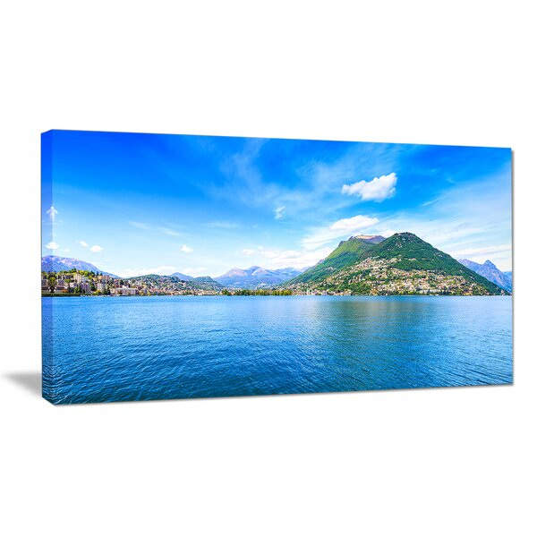 Lugano Lake Ticino Panorama Photographic Print on Wrapped Canvas by Design Art