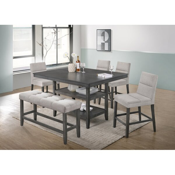 Neary 6 Piece Counter Height Dining Set by Wrought Studio