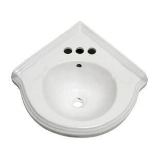Affordable Price Corner 22 Wall Mount Bathroom Sink with Overflow ByThe Renovators Supply Inc.