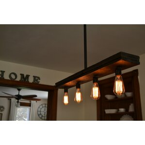 triple wood 4light kitchen island pendant