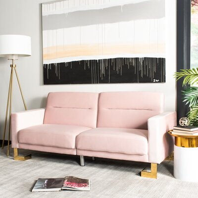 "Futton Full 77.1"" Cushion Back Convertible Sofa Willa Arlo Interiors Upholstery: Blush/Brass"