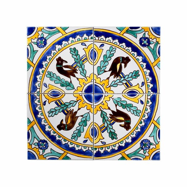 Mediterranean 6 x 6 Ceramic Carthage Mosaic Decorative Tile in Yellow & Blue by Casablanca Market