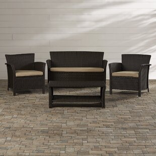 Brassard 4 Piece Rattan Sofa Set with Cushions By Mercury Row