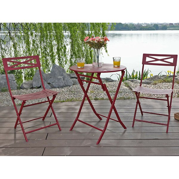Whitlatch Outdoor Metal Folding 3 Piece Bistro Set by Ebern Designs