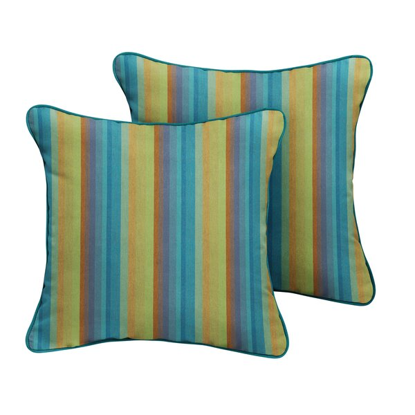 Dzu Sunbrella Astoria Lagoon Stripe Outdoor Throw Pillow (Set of 2) by Bayou Breeze