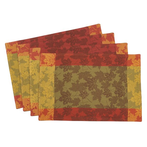 Arlington Fall Foliage Leaf Jacquard Placemat (Set of 4) by Loon Peak