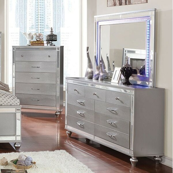 Rothwell 9 Drawer Dresser with Mirror by Everly Quinn
