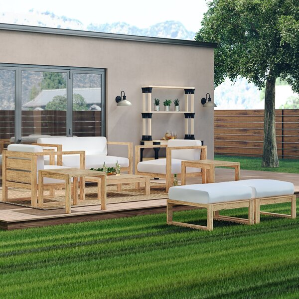 Erler 8 Piece Teak Seating Group with Cushions by Foundry Select