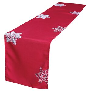 Christmas Embroidered with Snowflakes Table Runner