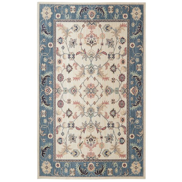 Meagan Beige/Blue Area Rug by Bungalow Rose