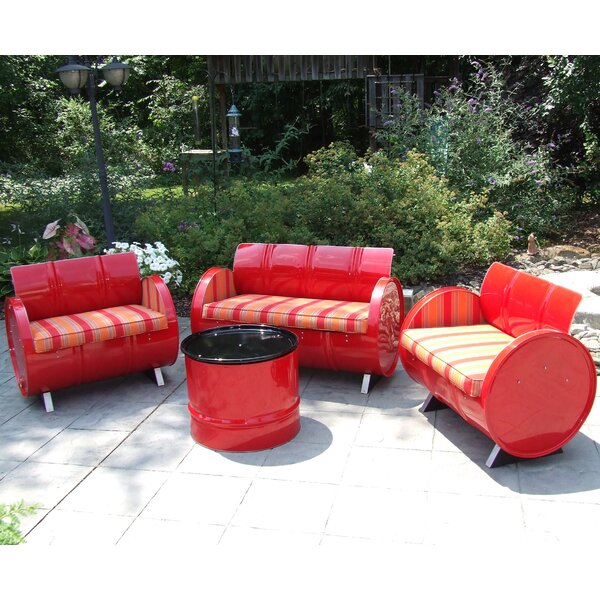 Bravada Salsa 4 Piece Sunbrella Sofa Set Cushions by Drum Works Furniture