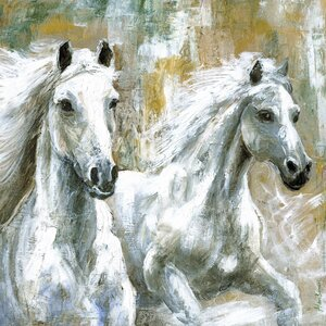 Wild Horses Painting Print on Wrapped Canvas by Marmont Hill