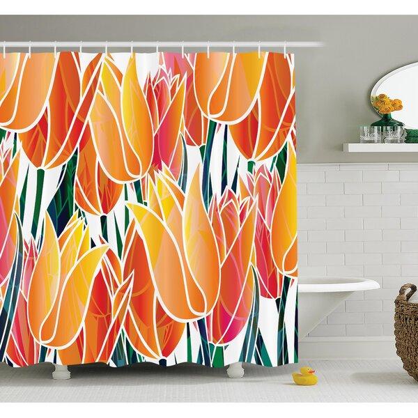Floral Tulip Garden Shower Curtain Set by Ambesonne