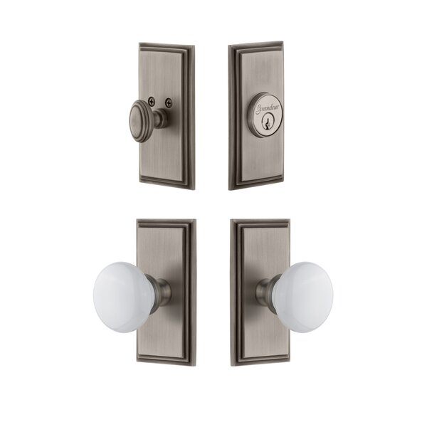 Carre Single Cylinder Knob Combo Pack with Hyde Park Knob by Grandeur