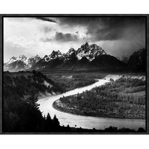 'The Tetons - Snake River, Grand Teton National Park, Wyoming, 1941' by Ansel Adams Framed Photographic Print on Canvas by Global Gallery