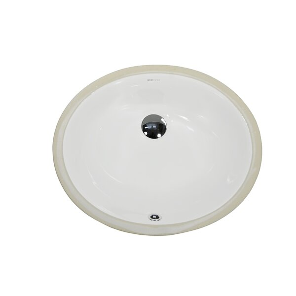Ceramic Oval Undermount Bathroom Sink with Overflow by UCore