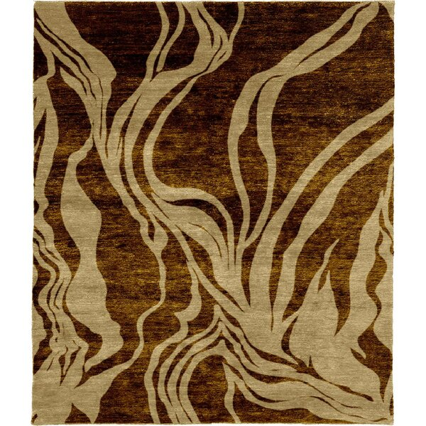 One-of-a-Kind Clariandra Hand-Knotted Brown 8' Square Wool Area Rug