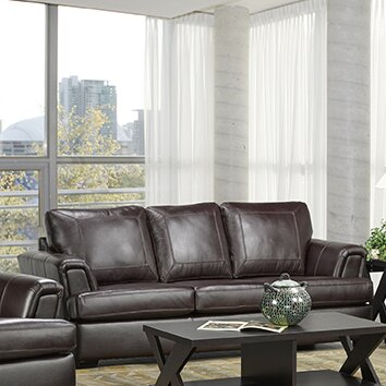 Royal Cranberry Italian Leather Sofa by Coja