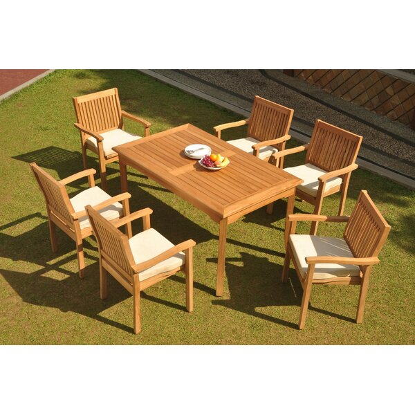 Ashley 7 Piece Teak Dining Set by Rosecliff Heights