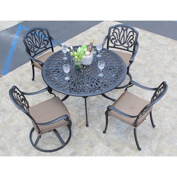 Weaubleau 5 Piece Dining Set with Cushions by Fleur De Lis Living