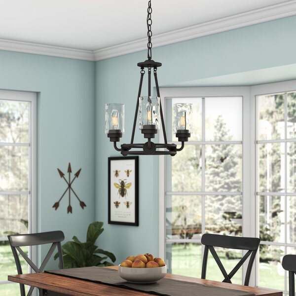 Westhope 3 - Light Shaded Wagon Wheel Chandelier by Laurel Foundry Modern Farmhouse Laurel Foundry Modern Farmhouse