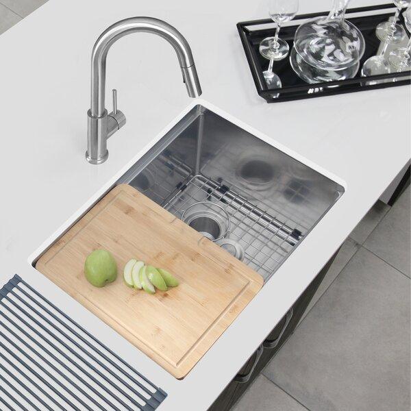 Workstation 25 L x 19 W Undermount Kitchen Sink with Basket Strainer