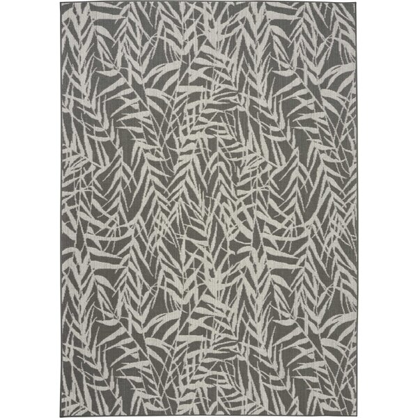 Roxy Leaves Gray Indoor/Outdoor Area Rug by Bay Isle Home