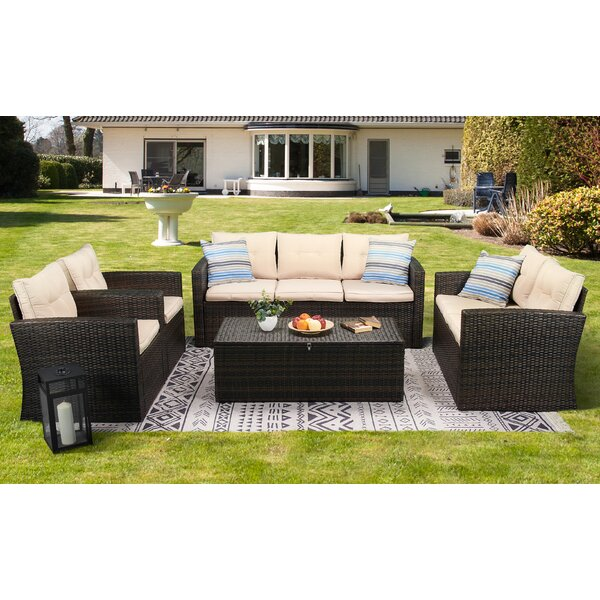 Humber 5 Piece Rattan Sofa Seating Group with Cushions by Latitude Run