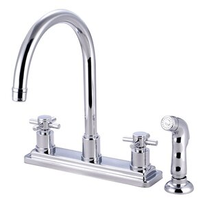 Elements of Design South Beach Double Cross Handle Kitchen Faucet with Non-Metallic Sprayer