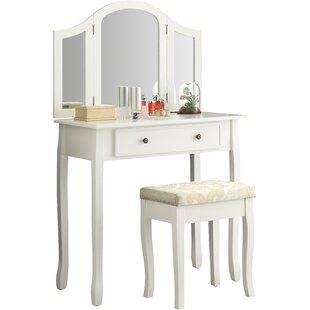 Emmalyn Wooden Vanity Set With Mirror