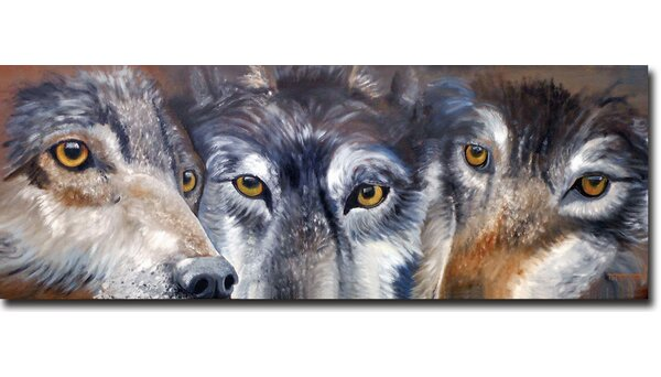 Too Close for Comfort Wolves Painting Print Plaque by WGI-GALLERY