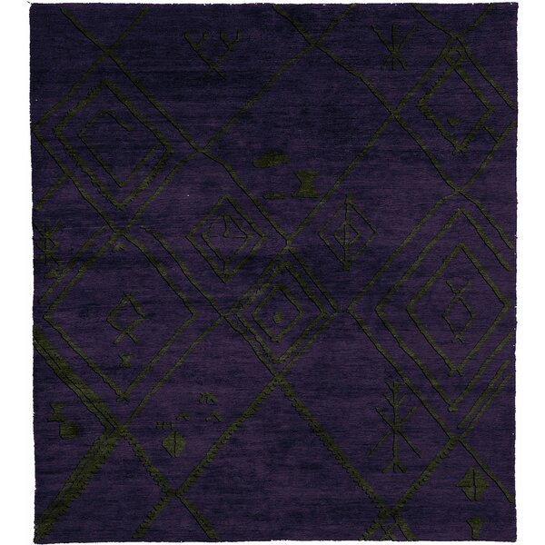 One-of-a-Kind Trinidad Hand-Knotted Traditional Style Purple 9' x 12' Wool Area Rug