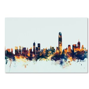 'Hong Kong Skyline Blue' Graphic Art on Wrapped Canvas by Ivy Bronx
