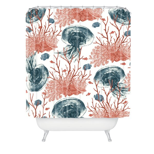 Belle13 Coral And Jellyfish Shower Curtain by East Urban Home