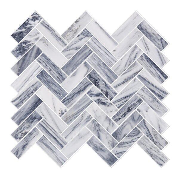 Herringbone 1 x 2 Marble Mosaic Tile in Gray/White by Byzantin Mosaic