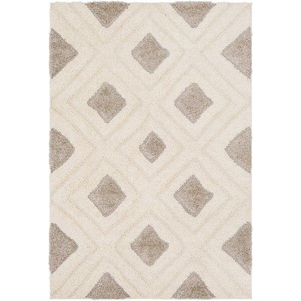 Marketfield Soft Geometric Shag Cream Area Rug by Wrought Studio