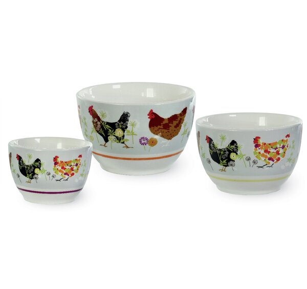 Spatter Hens 3 Piece Cereal Bowl Set by Boston Int