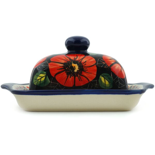 Poppy Passion Butter Dish by Polmedia